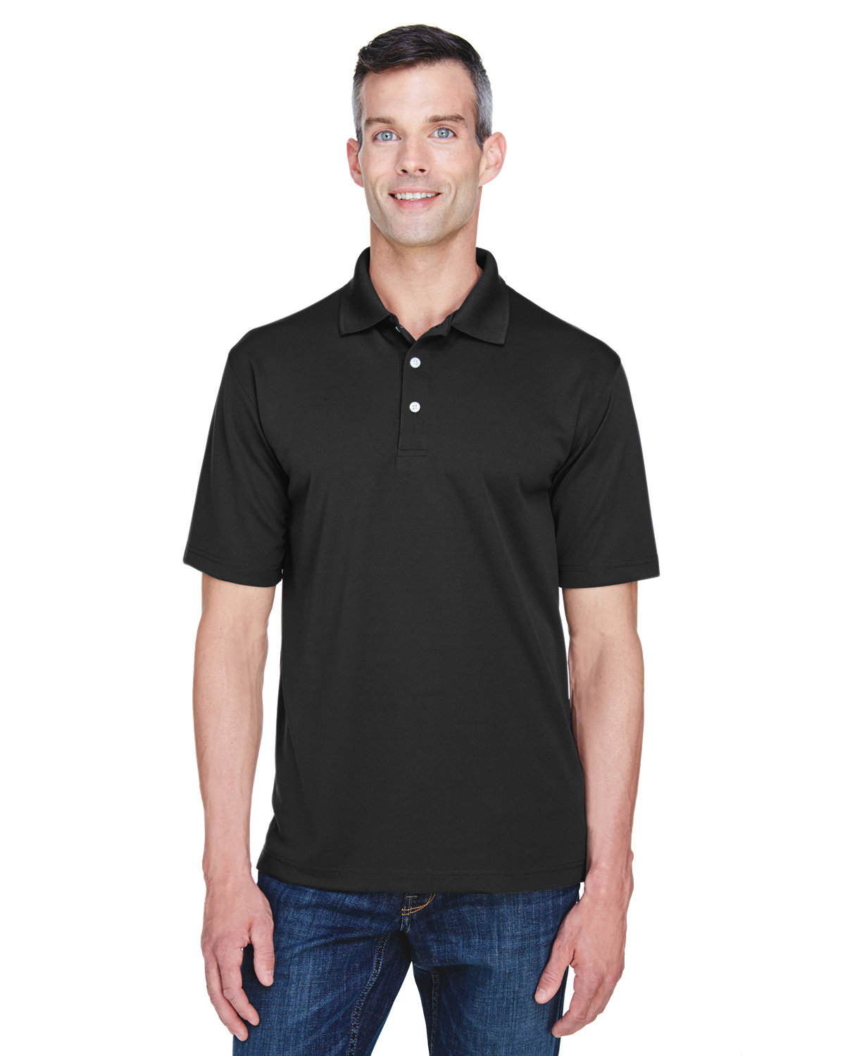 UltraClub Men's Cool & Dry Stain-Release Performance Polo BLACK