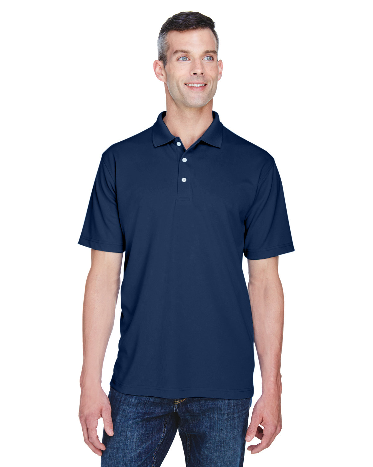 UltraClub Men's Cool & Dry Stain-Release Performance Polo NAVY