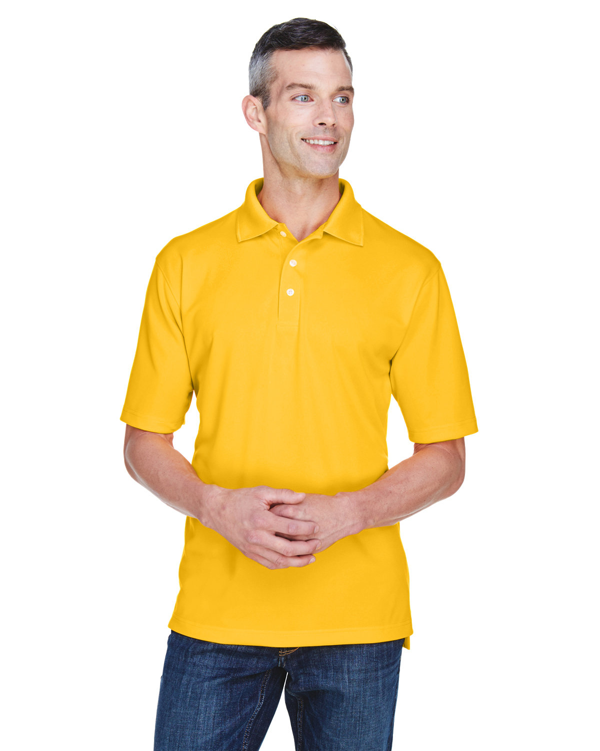 UltraClub Men's Cool & Dry Stain-Release Performance Polo GOLD