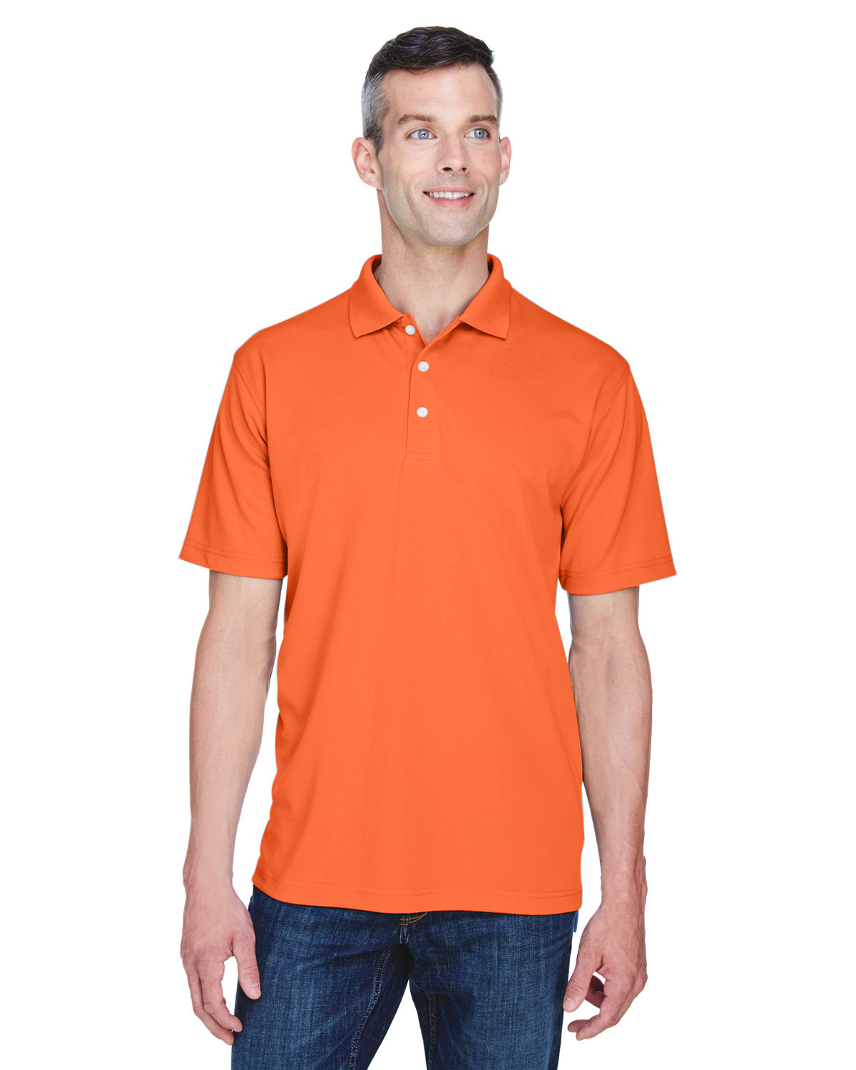 UltraClub Men's Cool & Dry Stain-Release Performance Polo ORANGE