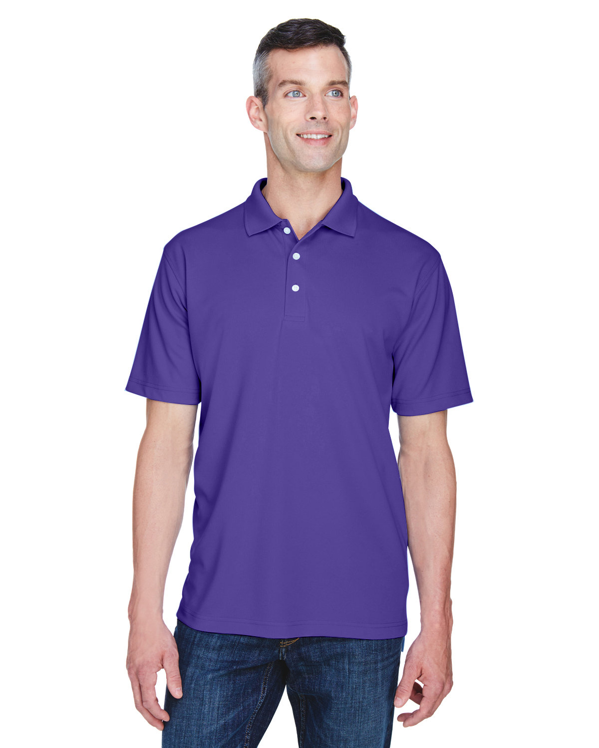 UltraClub Men's Cool & Dry Stain-Release Performance Polo PURPLE