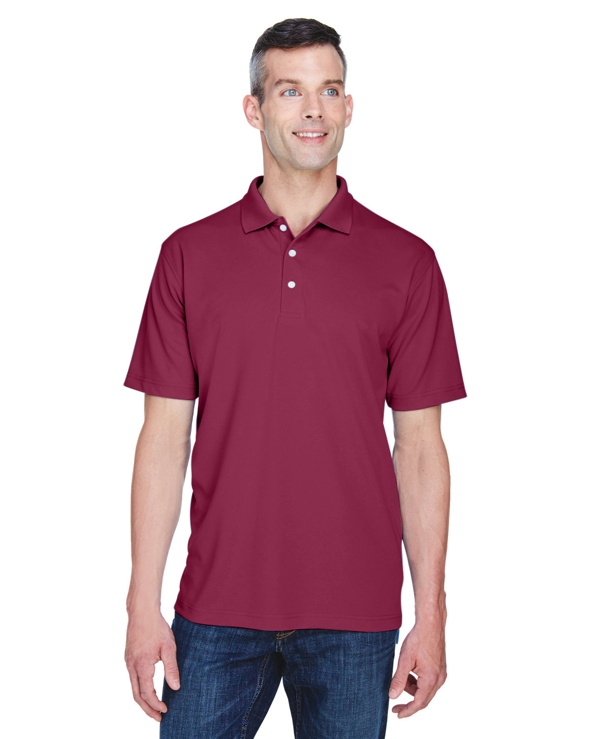 UltraClub Men's Cool & Dry Stain-Release Performance Polo MAROON