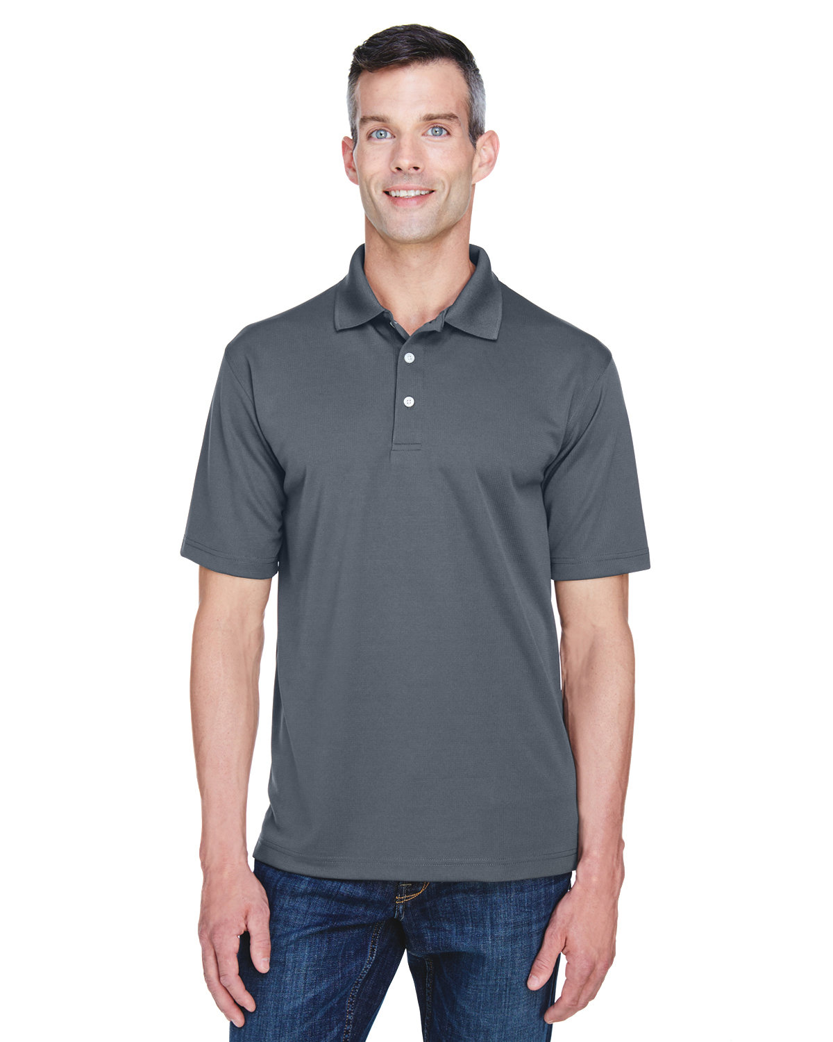 UltraClub Men's Cool & Dry Stain-Release Performance Polo CHARCOAL