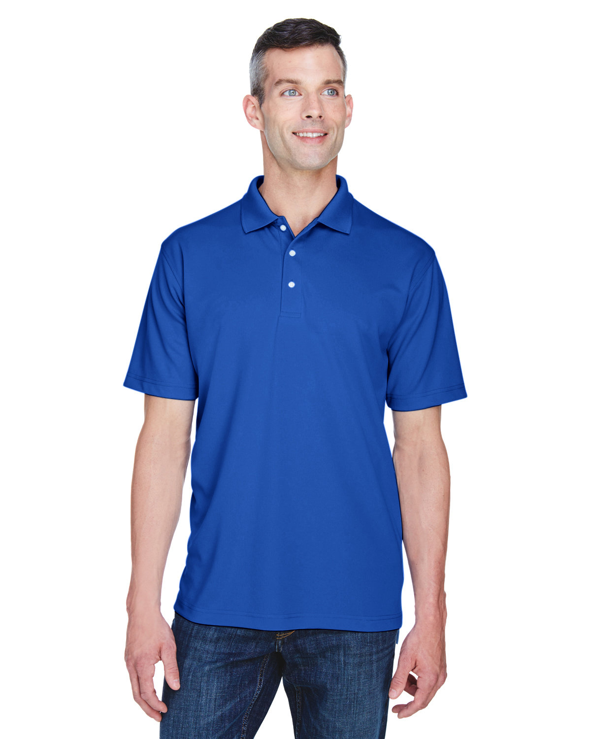 UltraClub Men's Cool & Dry Stain-Release Performance Polo COBALT