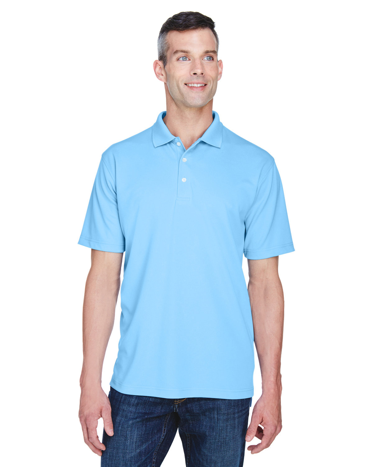 UltraClub Men's Cool & Dry Stain-Release Performance Polo COLUMBIA BLUE