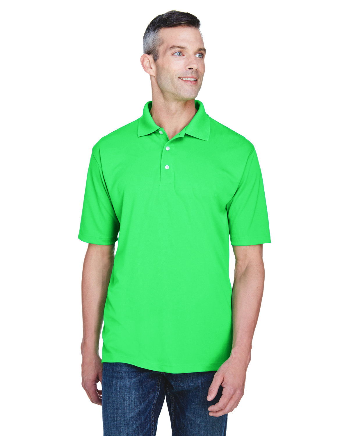 UltraClub Men's Cool & Dry Stain-Release Performance Polo COOL GREEN