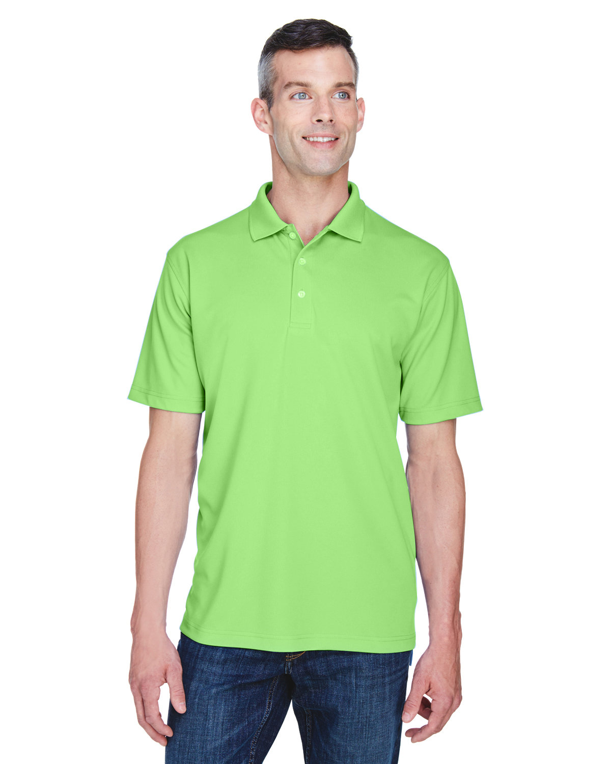 UltraClub Men's Cool & Dry Stain-Release Performance Polo LIGHT GREEN