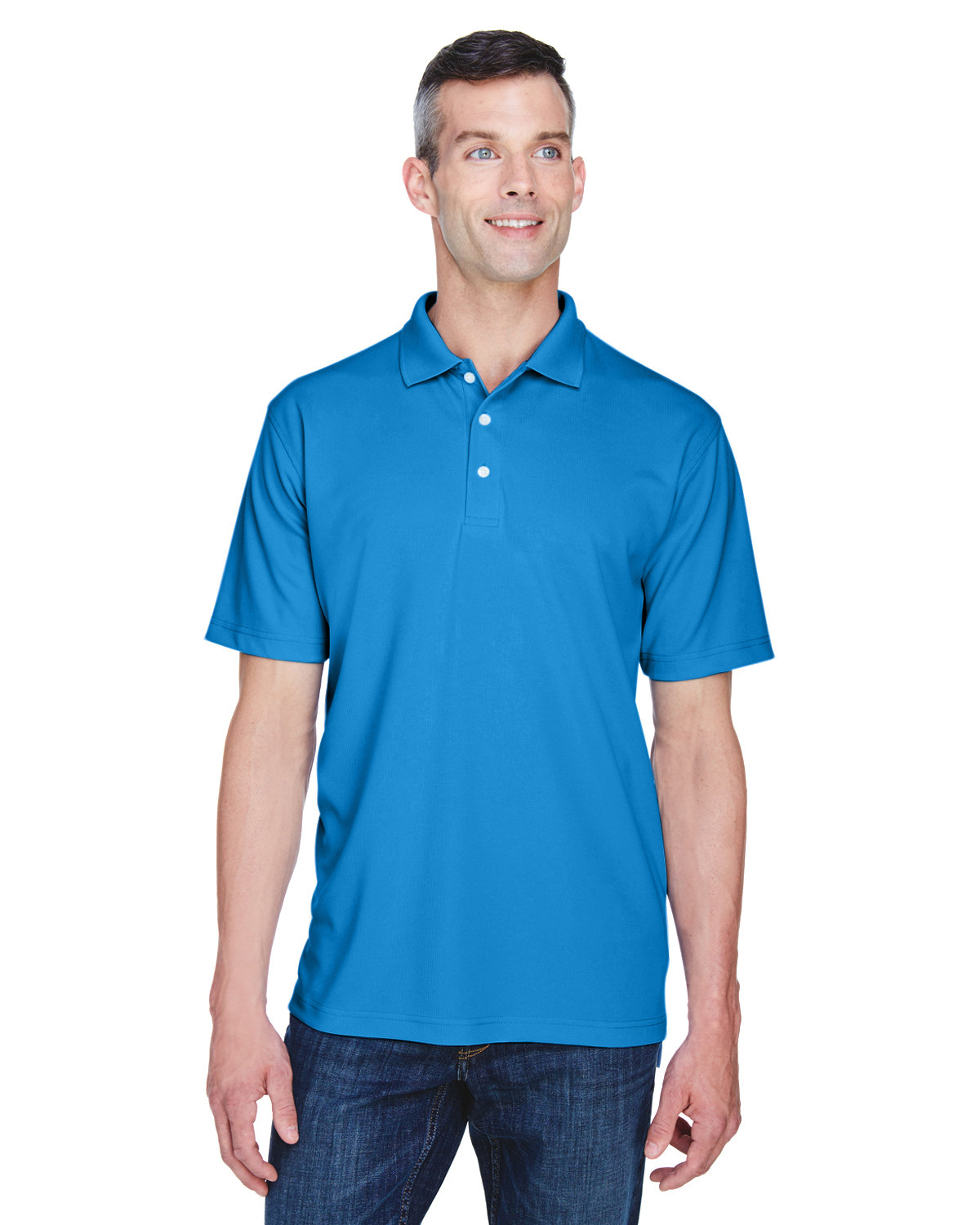 UltraClub Men's Cool & Dry Stain-Release Performance Polo PACIFIC BLUE