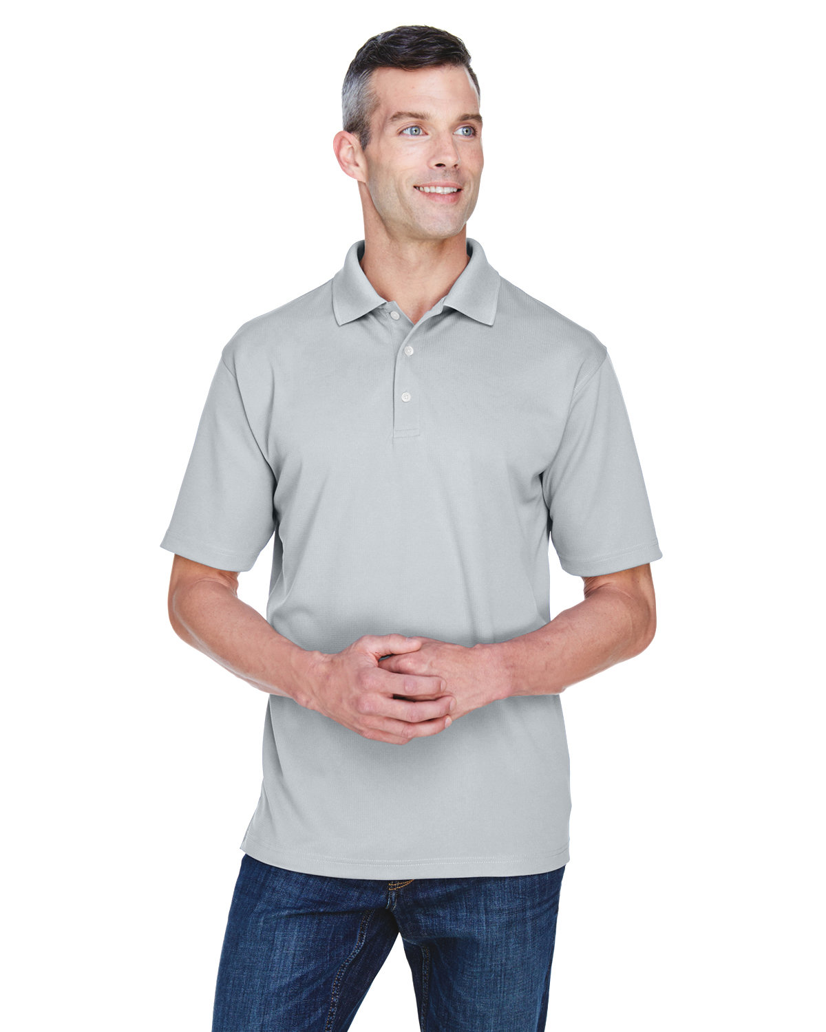UltraClub Men's Cool & Dry Stain-Release Performance Polo SILVER