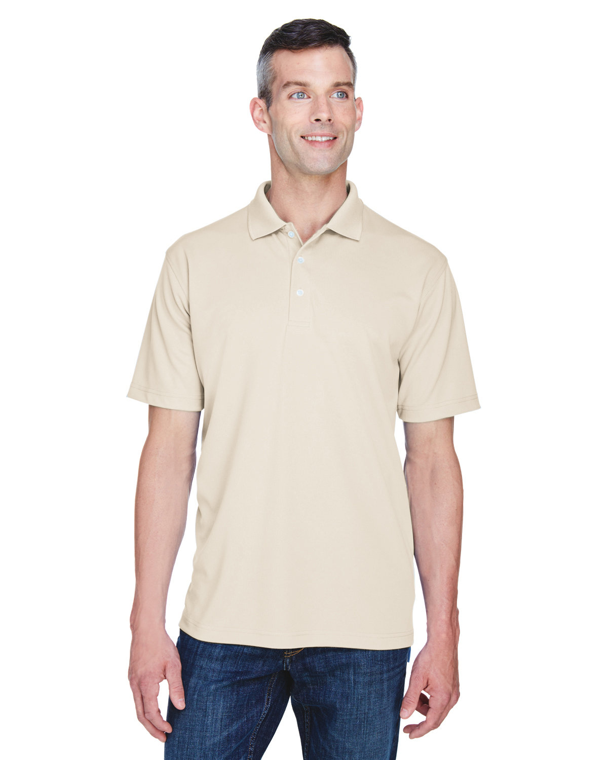 UltraClub Men's Cool & Dry Stain-Release Performance Polo STONE