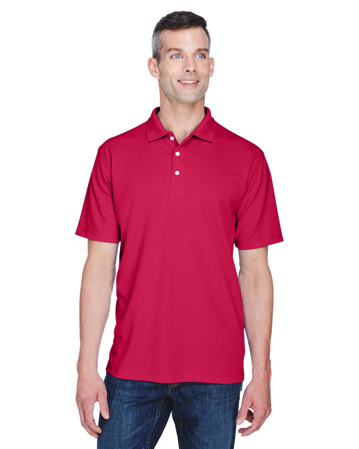UltraClub Men's Cool & Dry Stain-Release Performance Polo CARDINAL