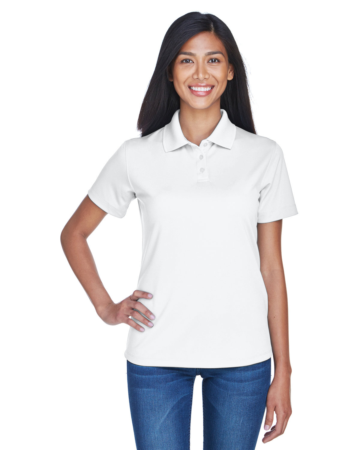 UltraClub Ladies' Cool & Dry Stain-Release Performance Polo WHITE