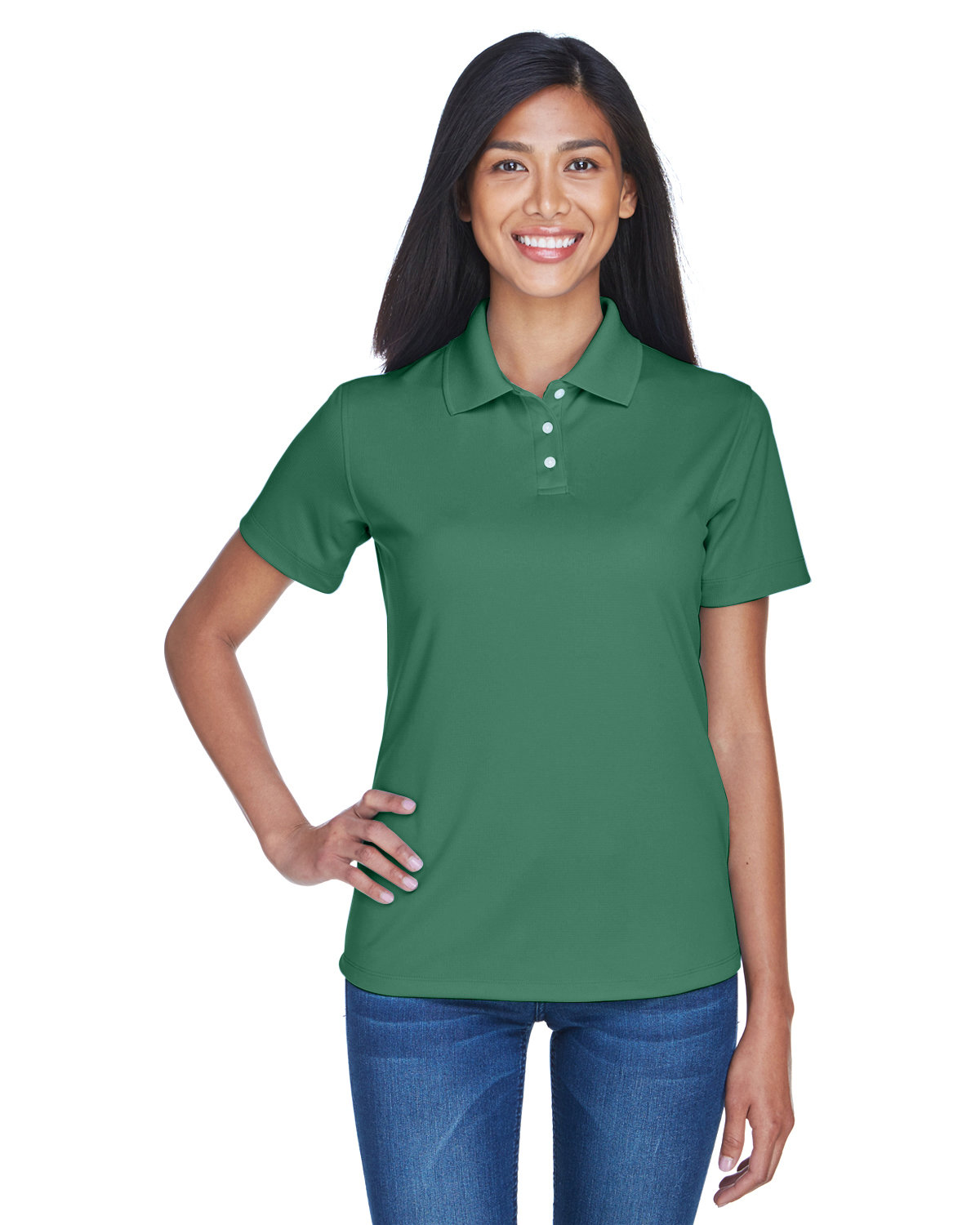 UltraClub Ladies' Cool & Dry Stain-Release Performance Polo FOREST GREEN