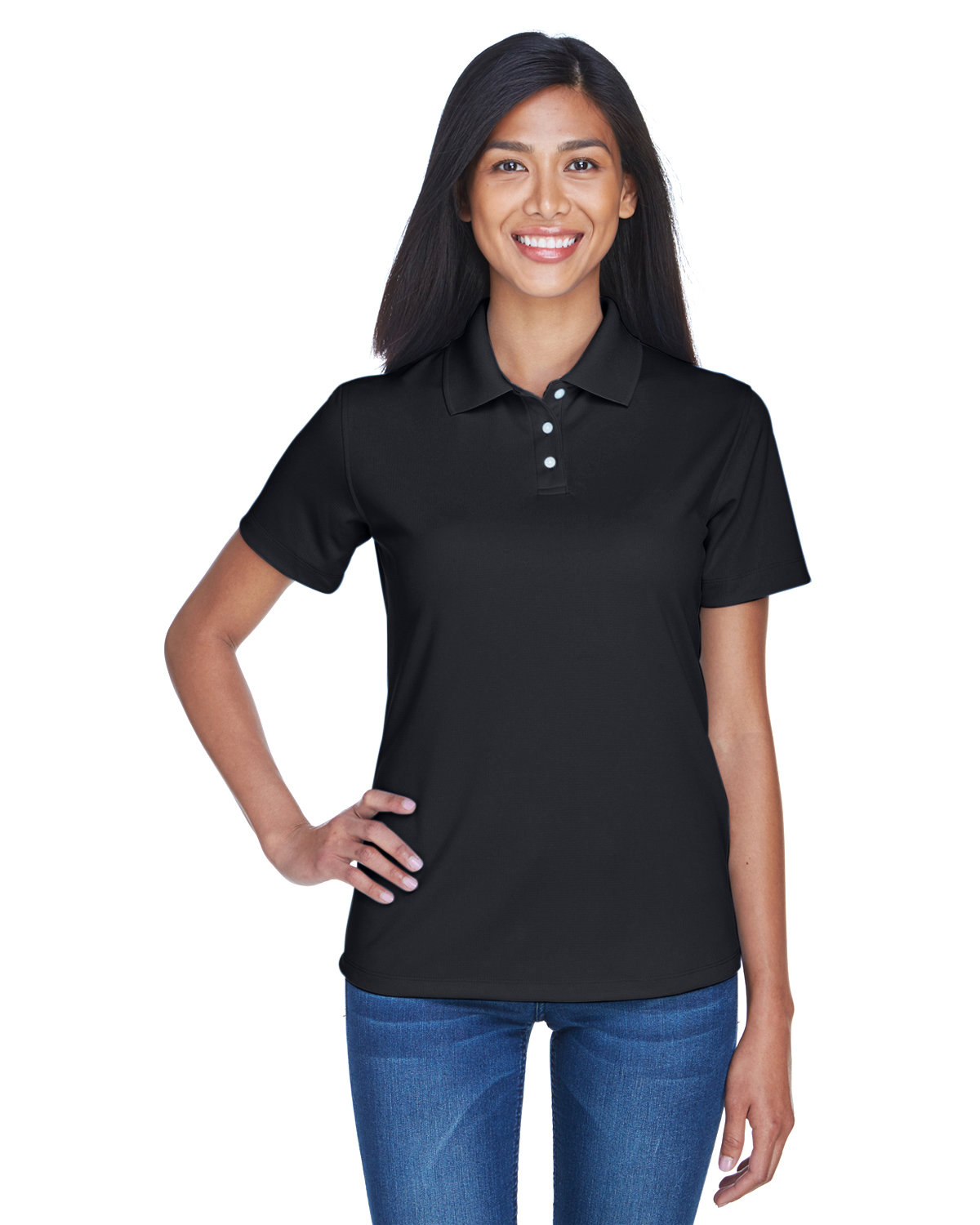 UltraClub Ladies' Cool & Dry Stain-Release Performance Polo BLACK