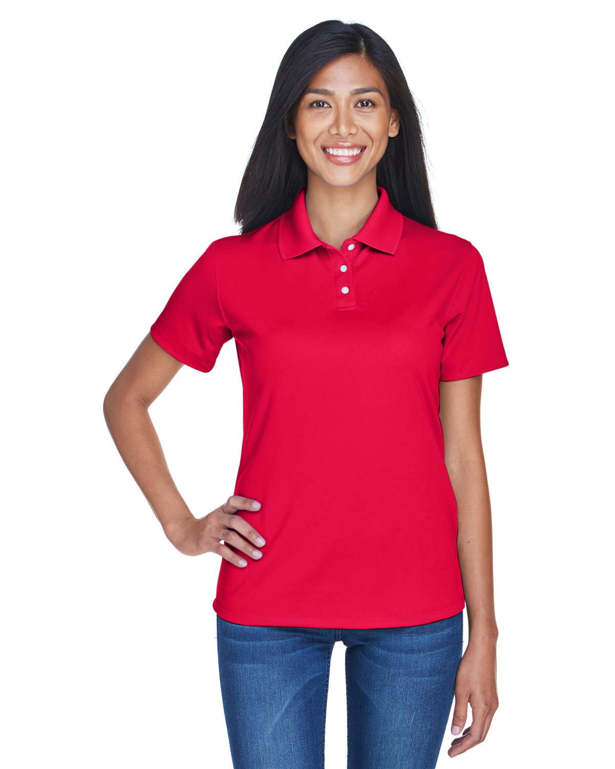 UltraClub Ladies' Cool & Dry Stain-Release Performance Polo RED