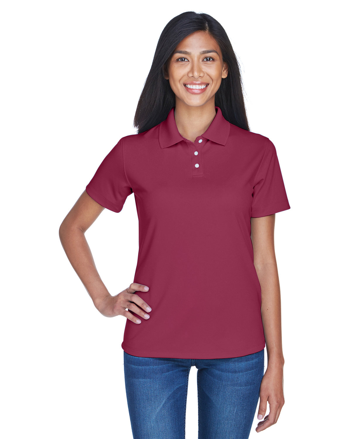 UltraClub Ladies' Cool & Dry Stain-Release Performance Polo MAROON