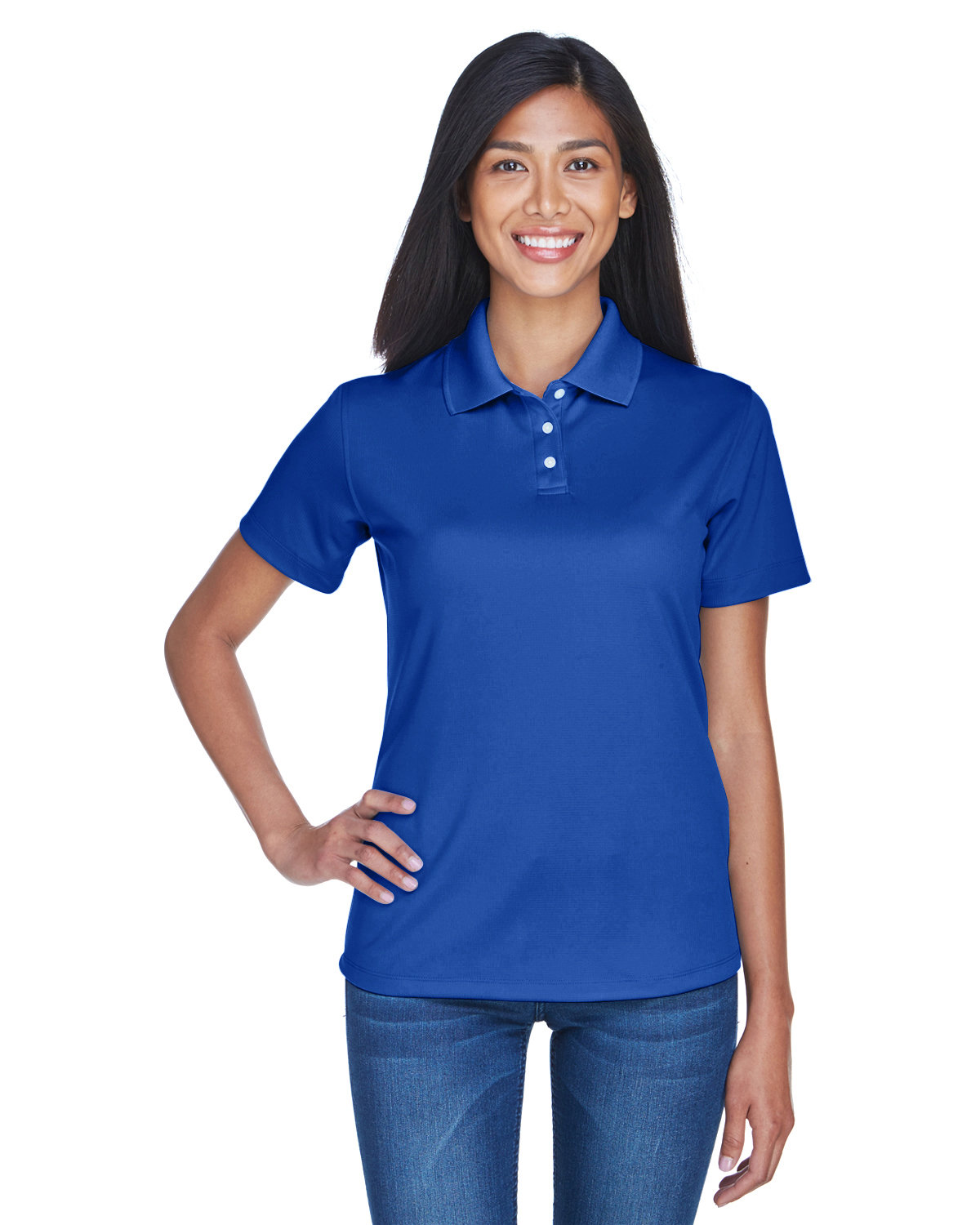 UltraClub Ladies' Cool & Dry Stain-Release Performance Polo COBALT