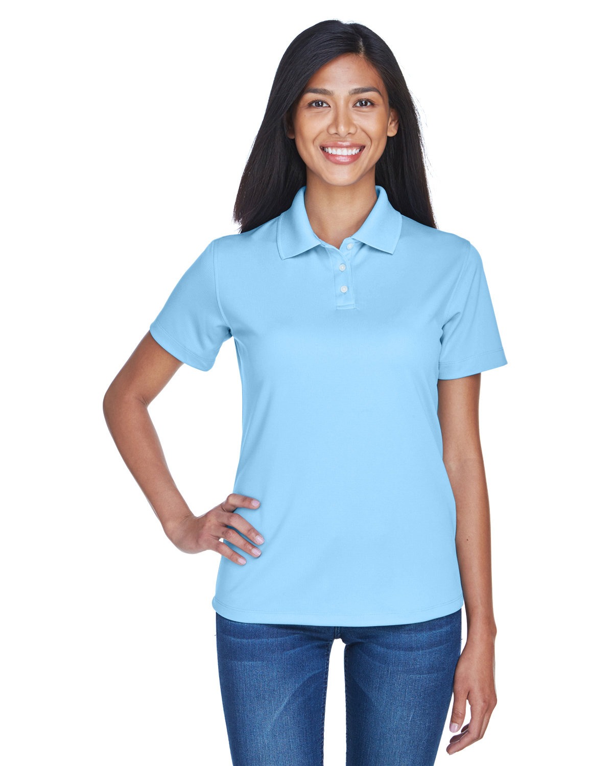 UltraClub Ladies' Cool & Dry Stain-Release Performance Polo COLUMBIA BLUE