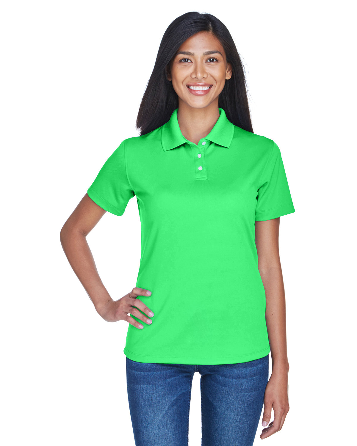 UltraClub Ladies' Cool & Dry Stain-Release Performance Polo COOL GREEN