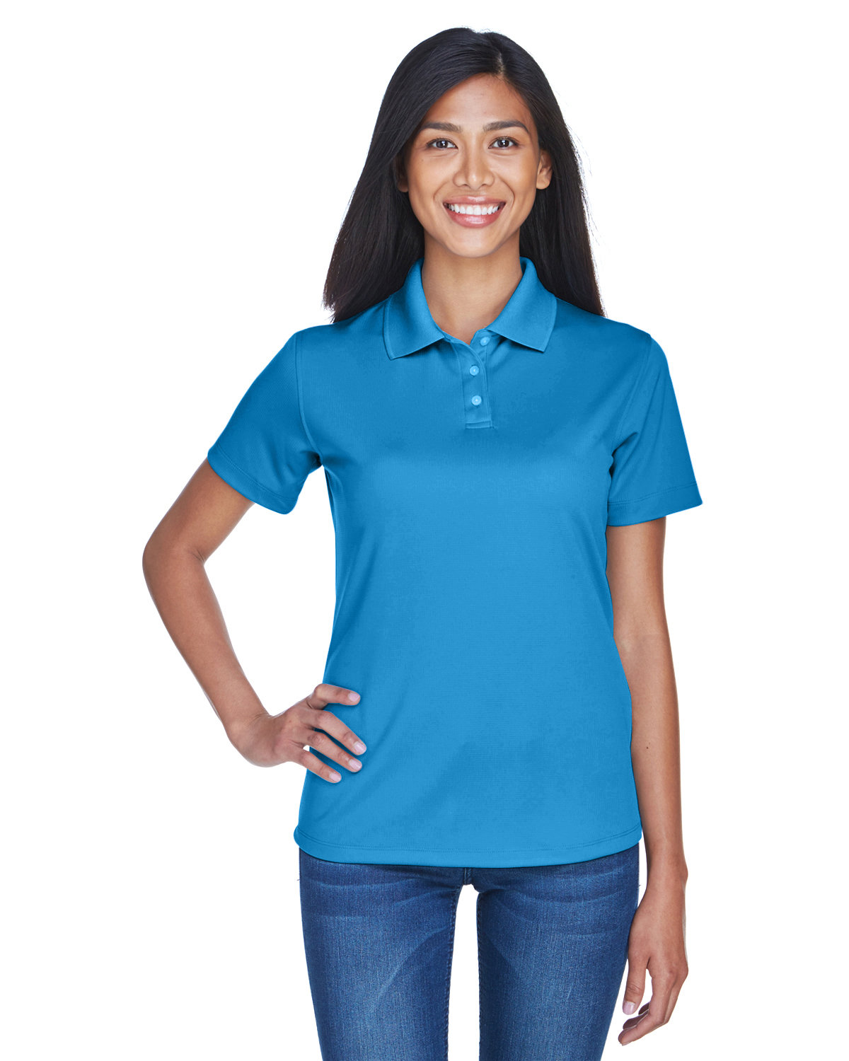 UltraClub Ladies' Cool & Dry Stain-Release Performance Polo PACIFIC BLUE