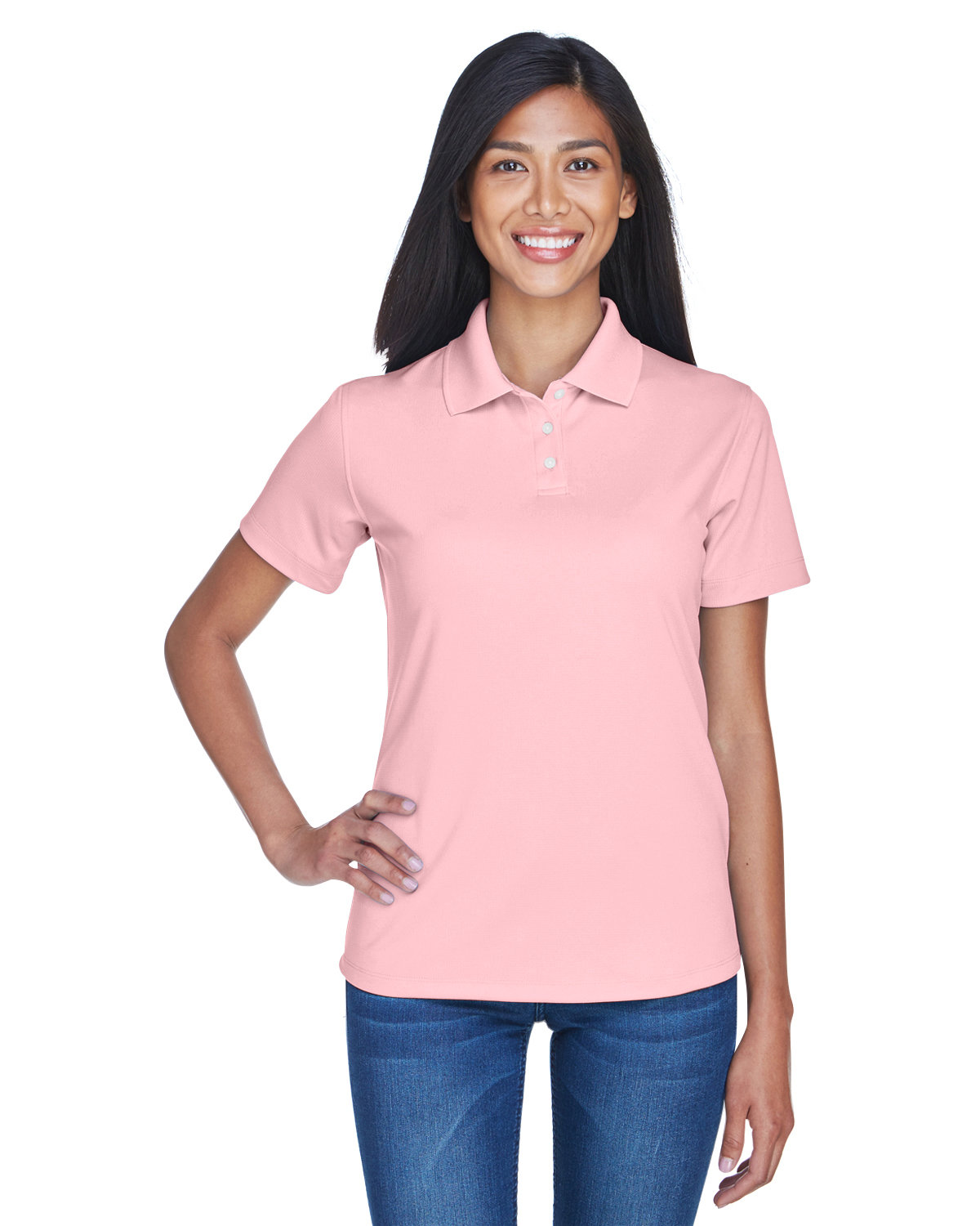 UltraClub Ladies' Cool & Dry Stain-Release Performance Polo PINK