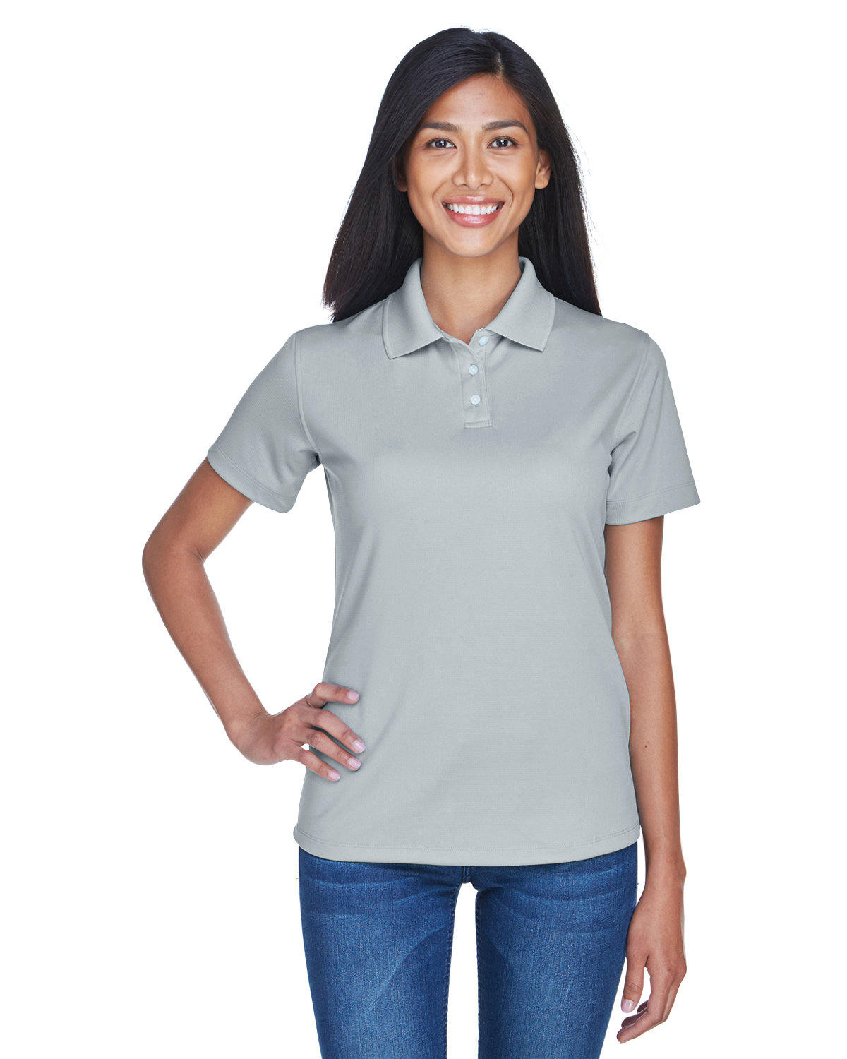 UltraClub Ladies' Cool & Dry Stain-Release Performance Polo SILVER