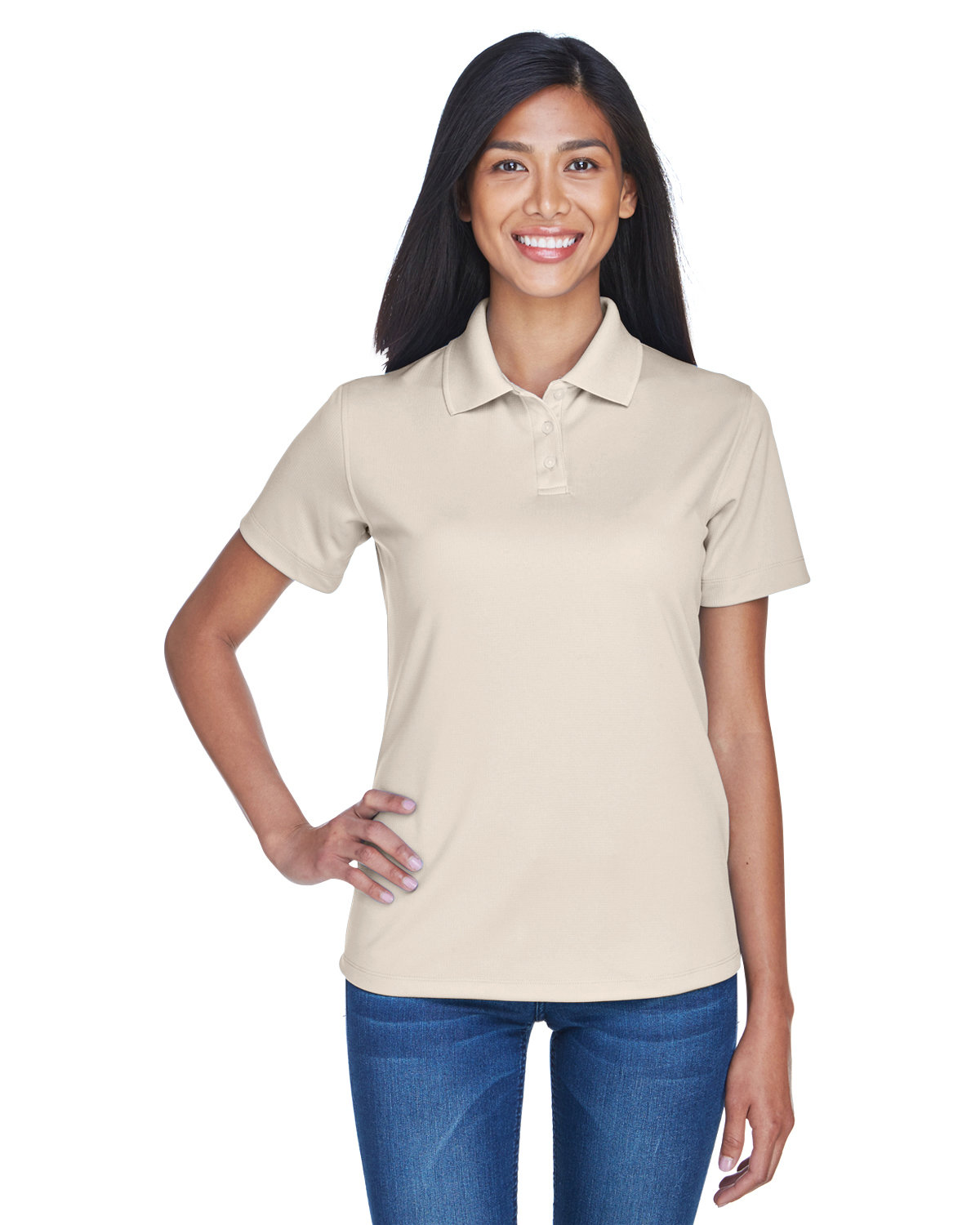 UltraClub Ladies' Cool & Dry Stain-Release Performance Polo STONE