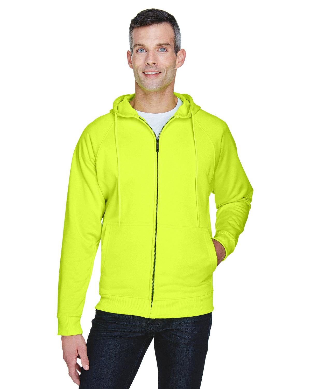 UltraClub Adult Rugged Wear Thermal-Lined Full-Zip Fleece Hooded Sweatshirt LIME