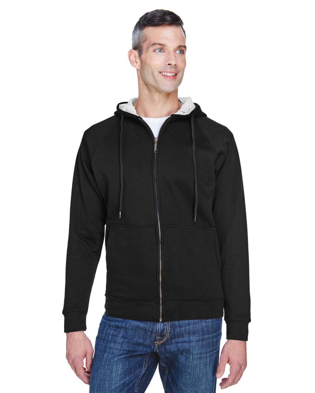UltraClub Adult Rugged Wear Thermal-Lined Full-Zip Fleece Hooded Sweatshirt BLACK/ HTHR GREY