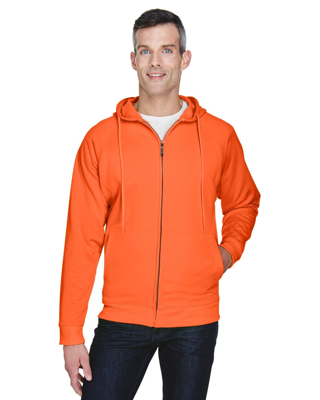 UltraClub Adult Rugged Wear Thermal-Lined Full-Zip Fleece Hooded Sweatshirt BRIGHT ORANGE