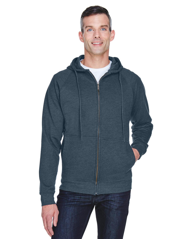 UltraClub Adult Rugged Wear Thermal-Lined Full-Zip Fleece Hooded Sweatshirt DRK HEATHER GRAY