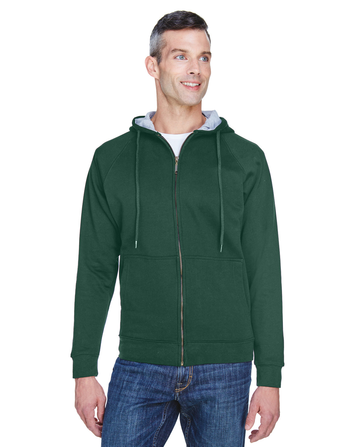 UltraClub Adult Rugged Wear Thermal-Lined Full-Zip Fleece Hooded Sweatshirt FOR GRN/ HTH GRY