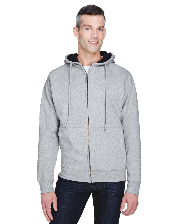 UltraClub Adult Rugged Wear Thermal-Lined Full-Zip Fleece Hooded Sweatshirt HTHR GREY/ BLACK