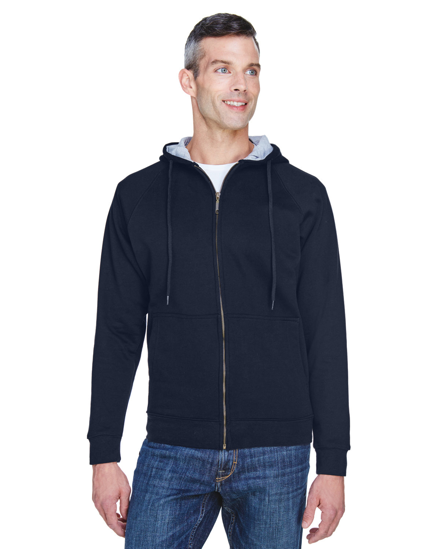 UltraClub Adult Rugged Wear Thermal-Lined Full-Zip Fleece Hooded Sweatshirt NAVY/ HTHR GRY
