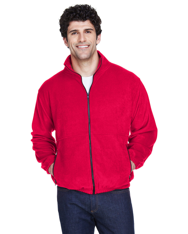 UltraClub Men's Iceberg Fleece Full-Zip Jacket RED