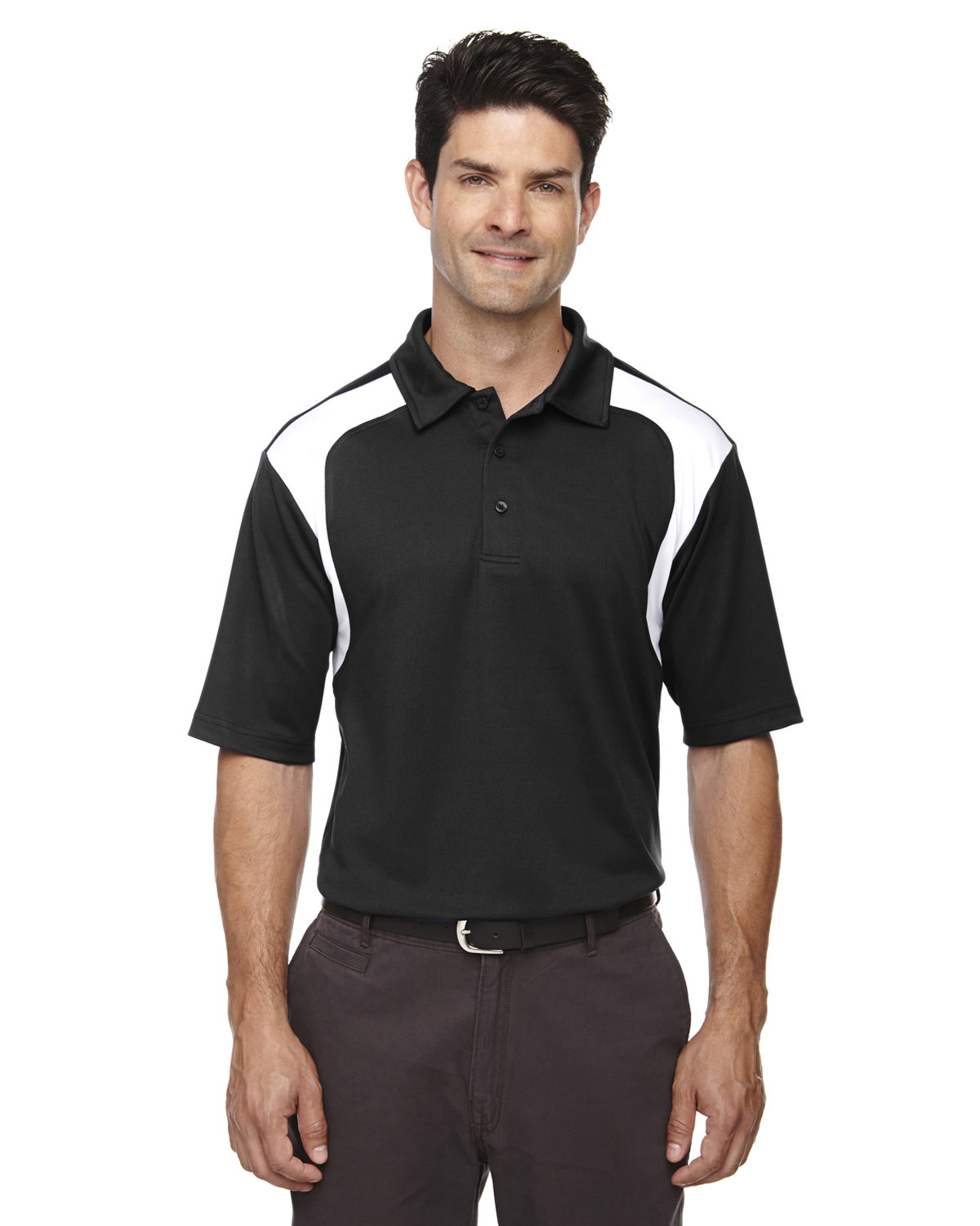 Extreme Men's Eperformance™ Colorblock Textured Polo BLACK