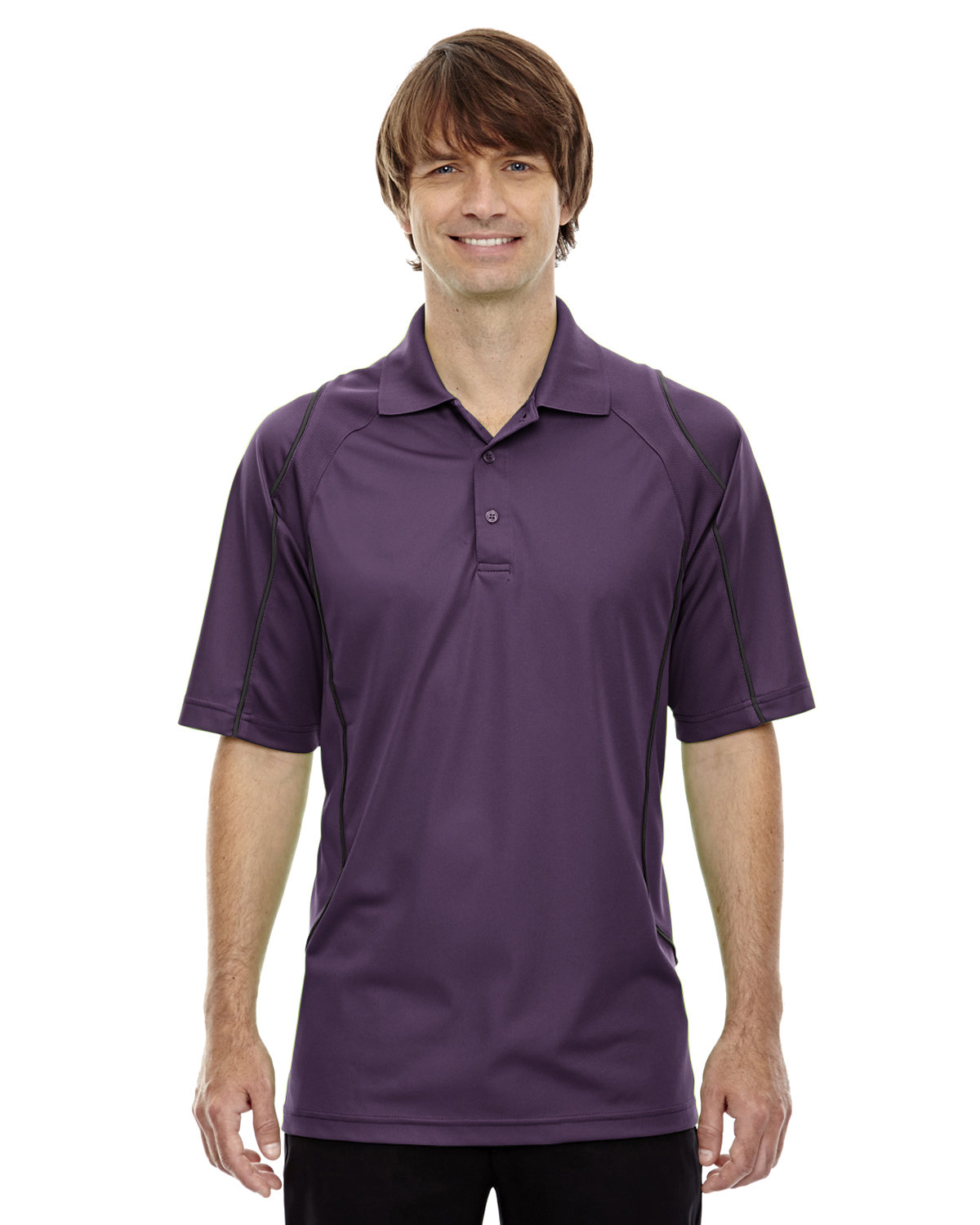 Extreme Men's Eperformance™ Velocity Snag Protection Colorblock Polo with Piping MULBERRY PURPLE