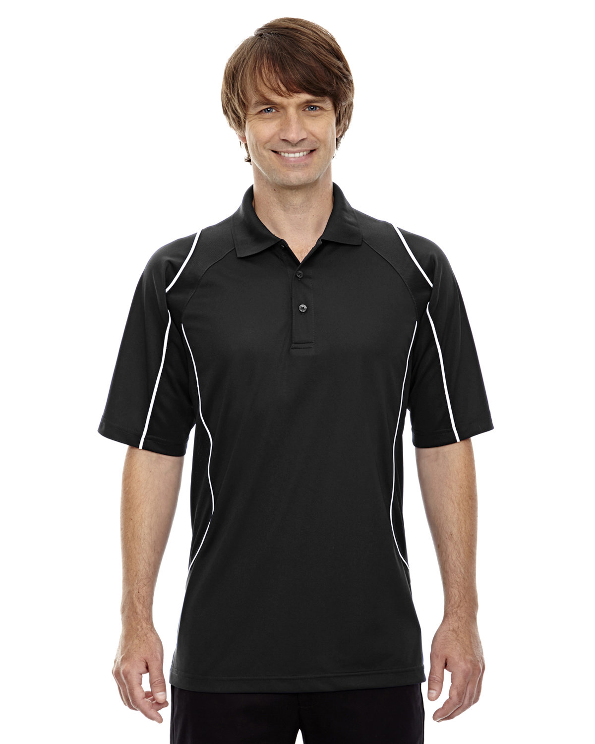 Extreme Men's Eperformance™ Velocity Snag Protection Colorblock Polo with Piping BLACK
