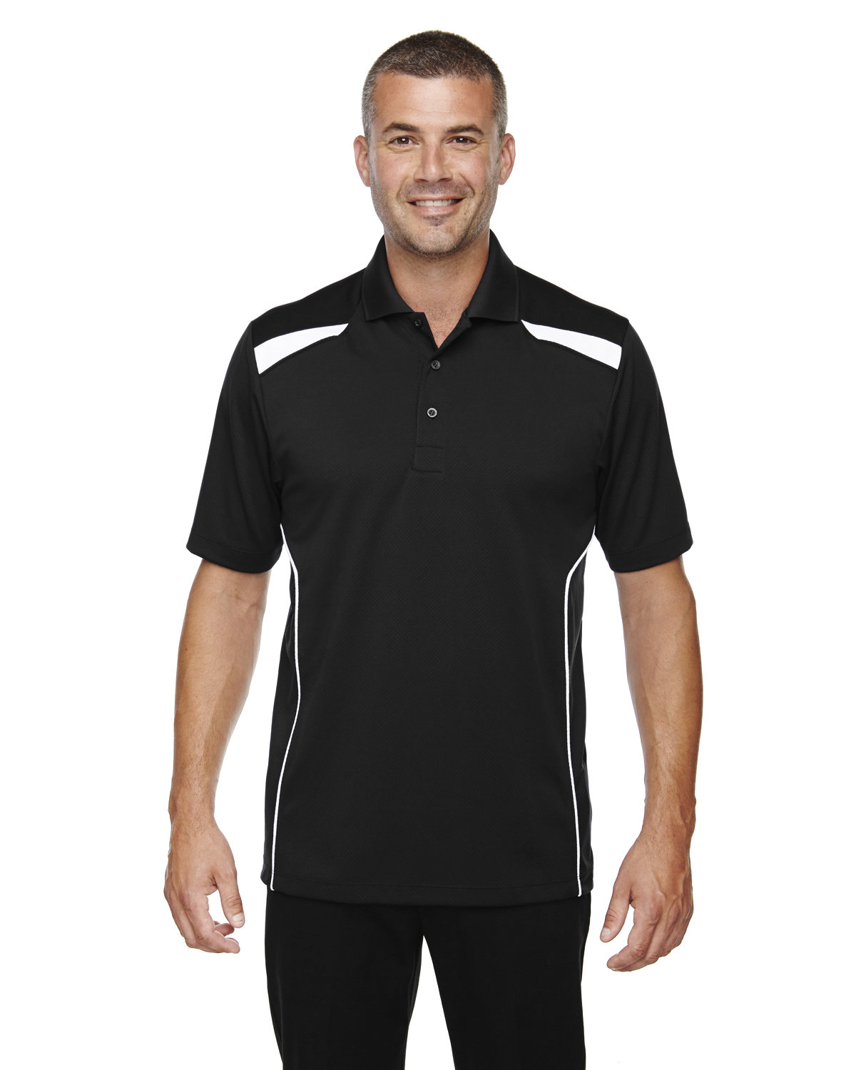 Extreme Men's Eperformance™ Tempo Recycled Polyester Performance Textured Polo BLACK