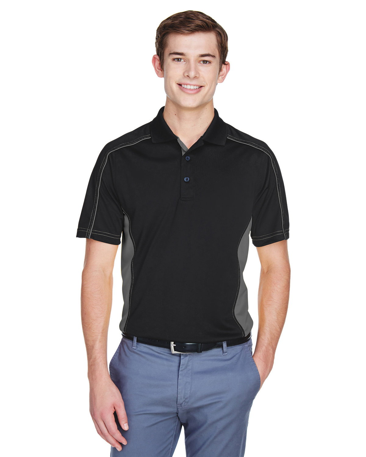 Extreme Men's Tall Eperformance™ Fuse Snag Protection Plus Colorblock Polo BLACK/ CARBON