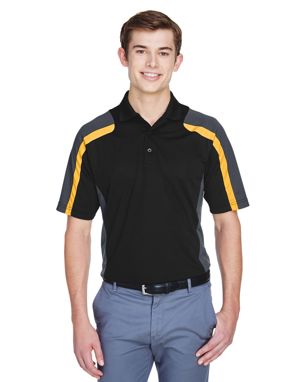 Extreme Men's Eperformance™ Strike Colorblock Snag Protection Polo BLK/ CMPS GOLD