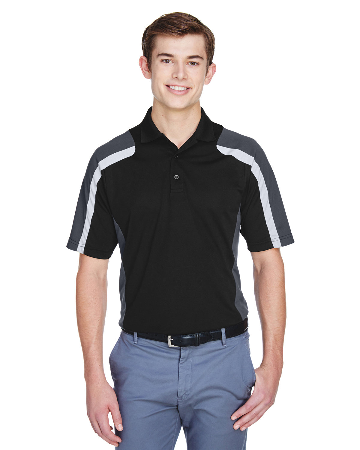 Extreme Men's Eperformance™ Strike Colorblock Snag Protection Polo BLACK