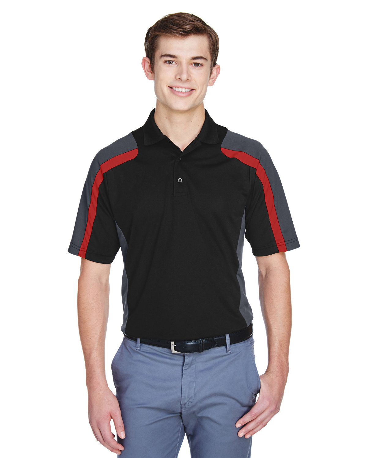 Extreme Men's Eperformance™ Strike Colorblock Snag Protection Polo BLACK / CL RED