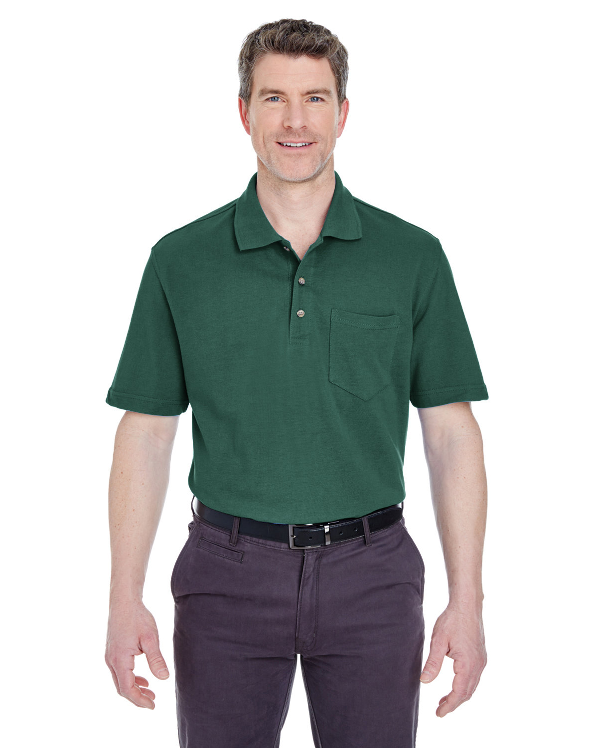UltraClub Adult Classic Piqué Polo withPocket FOREST GREEN
