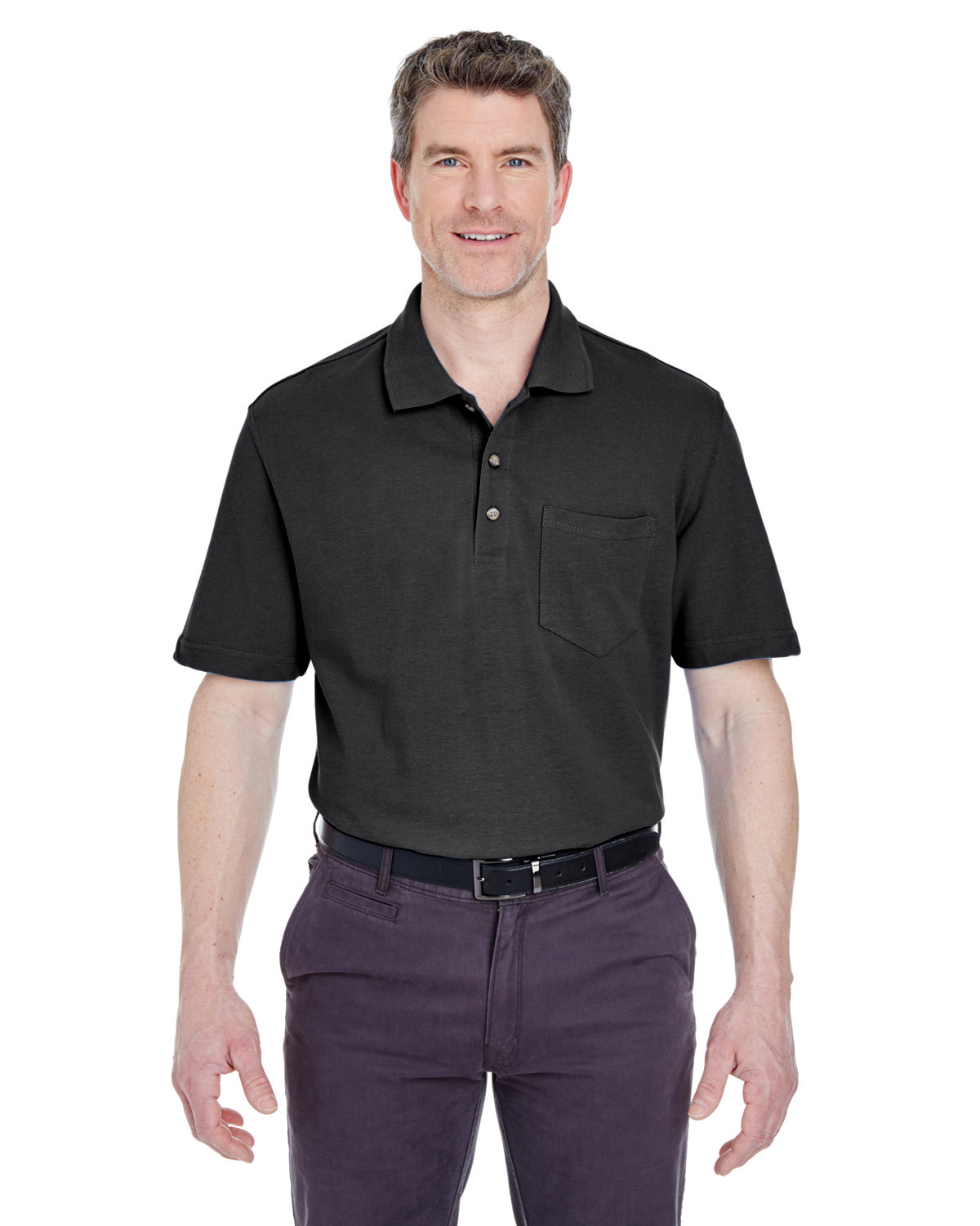 UltraClub Adult Classic Piqué Polo withPocket BLACK