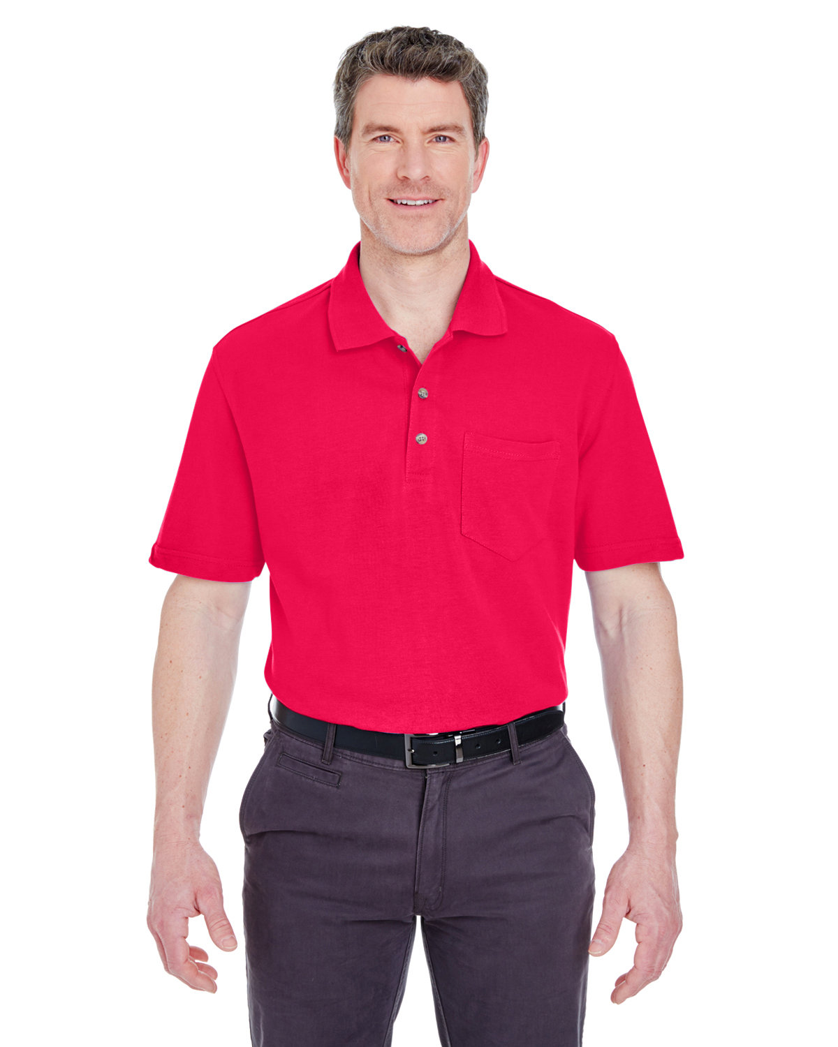 UltraClub Adult Classic Piqué Polo withPocket RED
