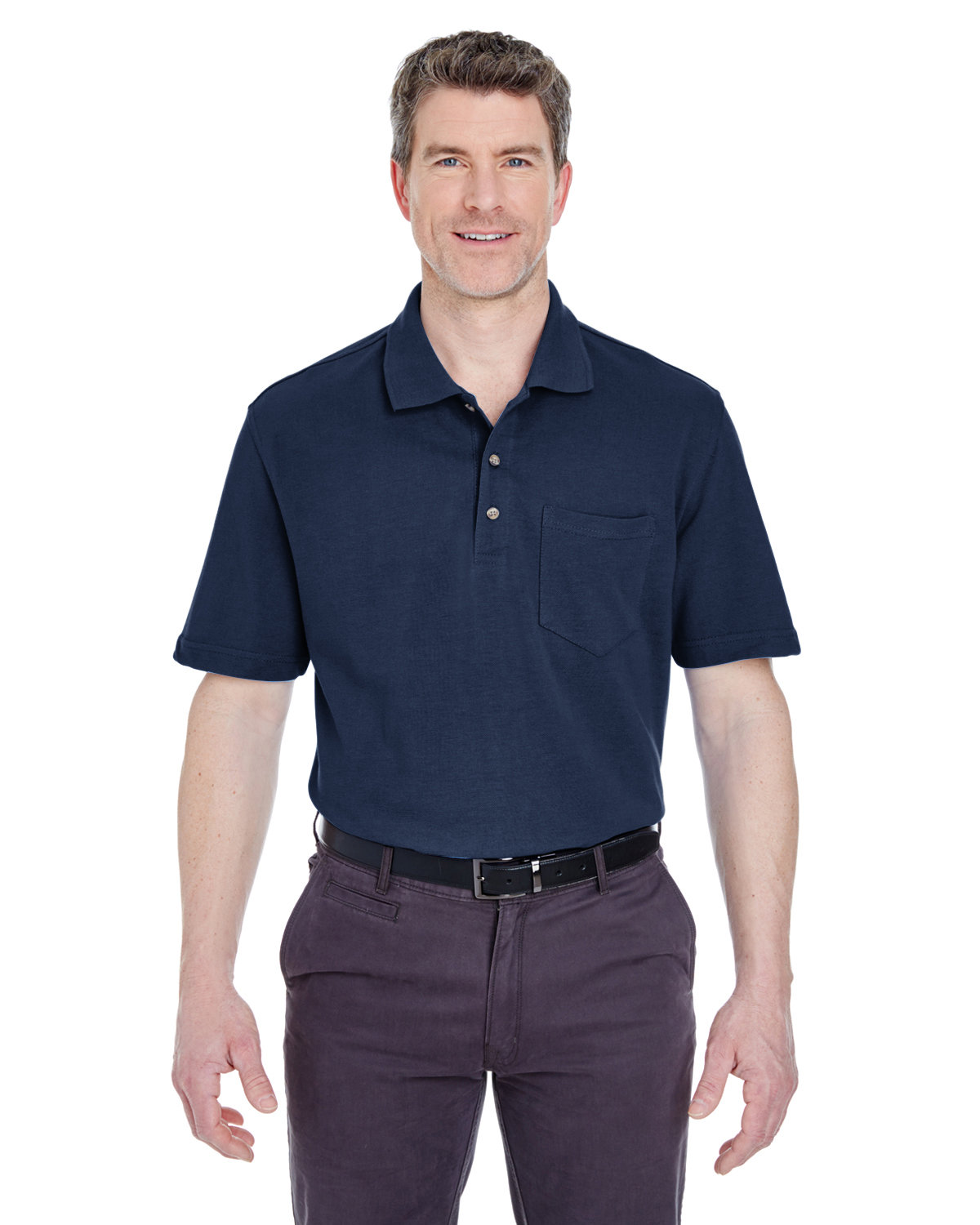 UltraClub Adult Classic Piqué Polo withPocket NAVY