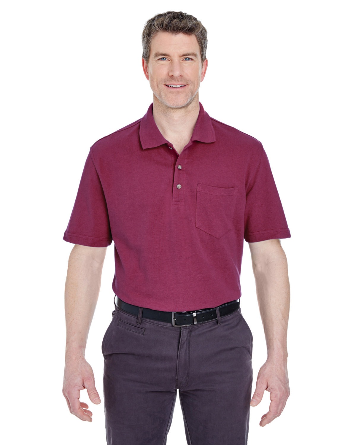 UltraClub Adult Classic Piqué Polo withPocket BURGUNDY
