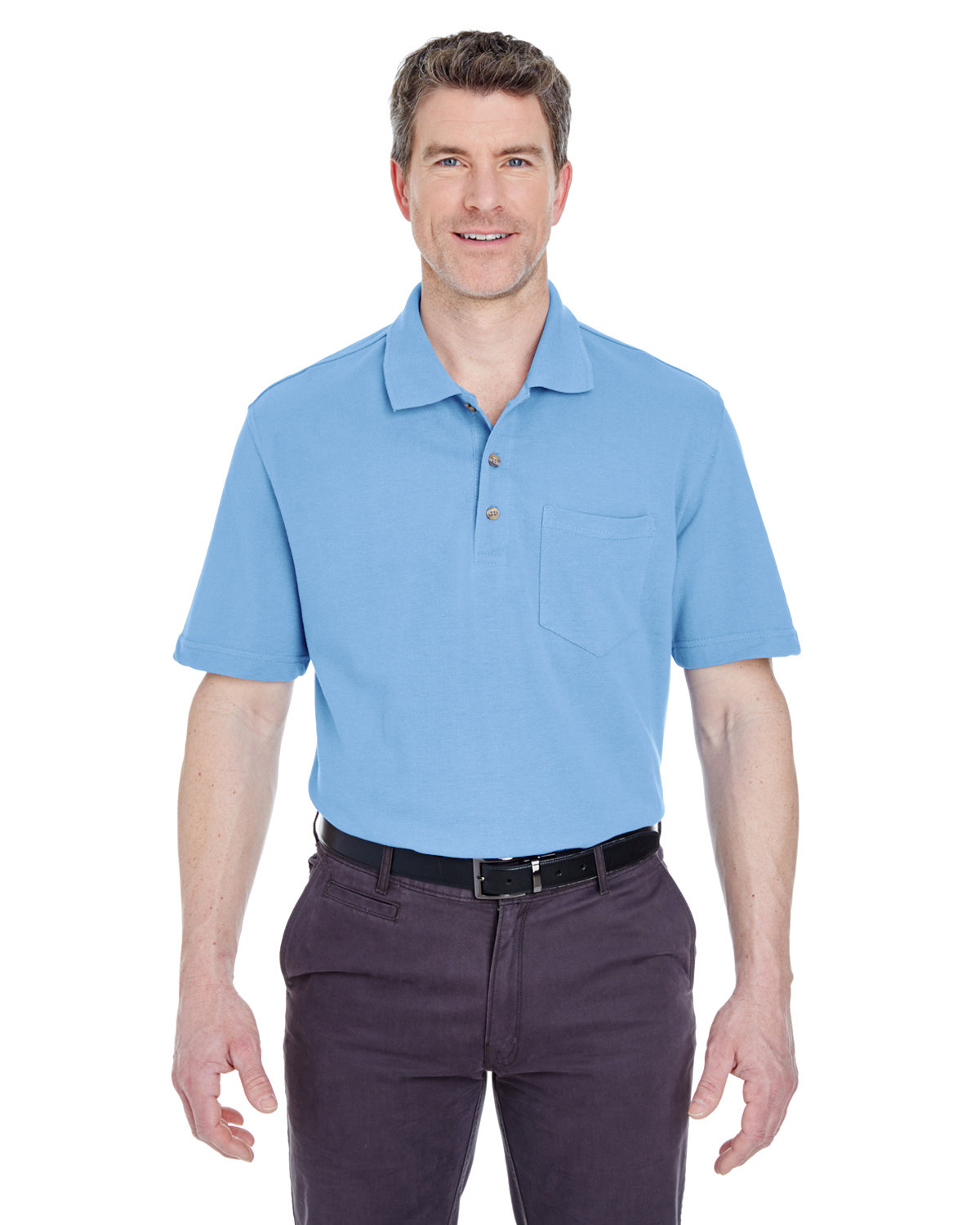 UltraClub Adult Classic Piqué Polo withPocket CORNFLOWER