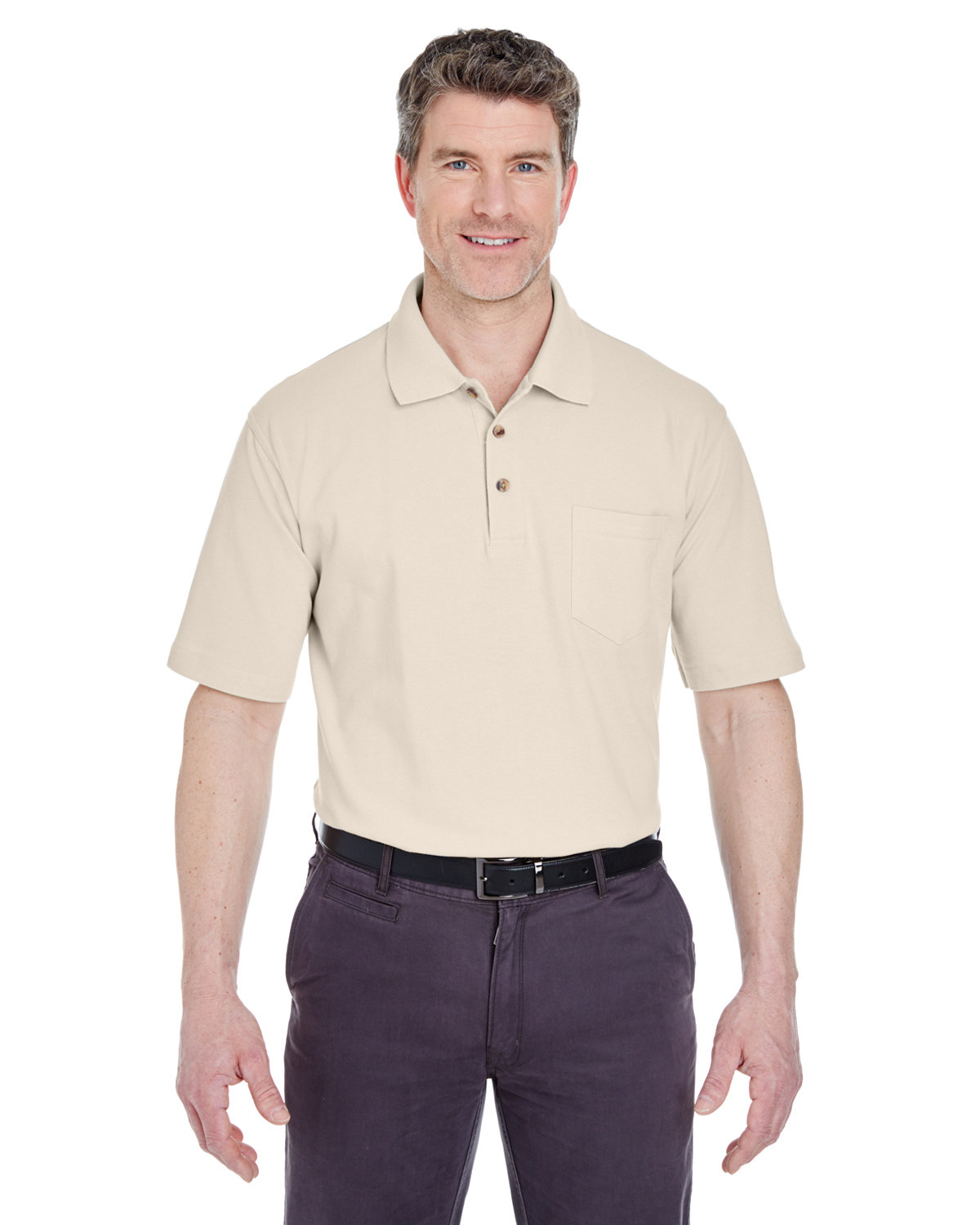 UltraClub Adult Classic Piqué Polo withPocket STONE